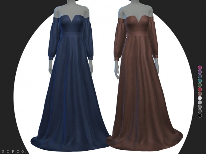 Sims 4 Tasha gown solid sleeves by Pipco at TSR