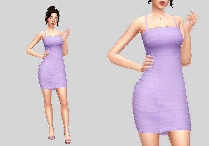 Sims 4 Bodycon ruched dress at Casteru