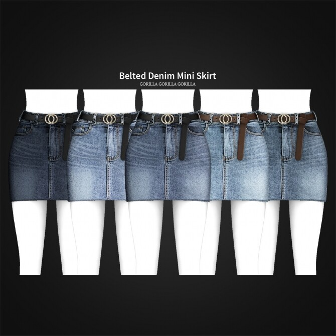 Belted Denim Mini Skirt at Gorilla image 2762 670x670 Sims 4 Updates