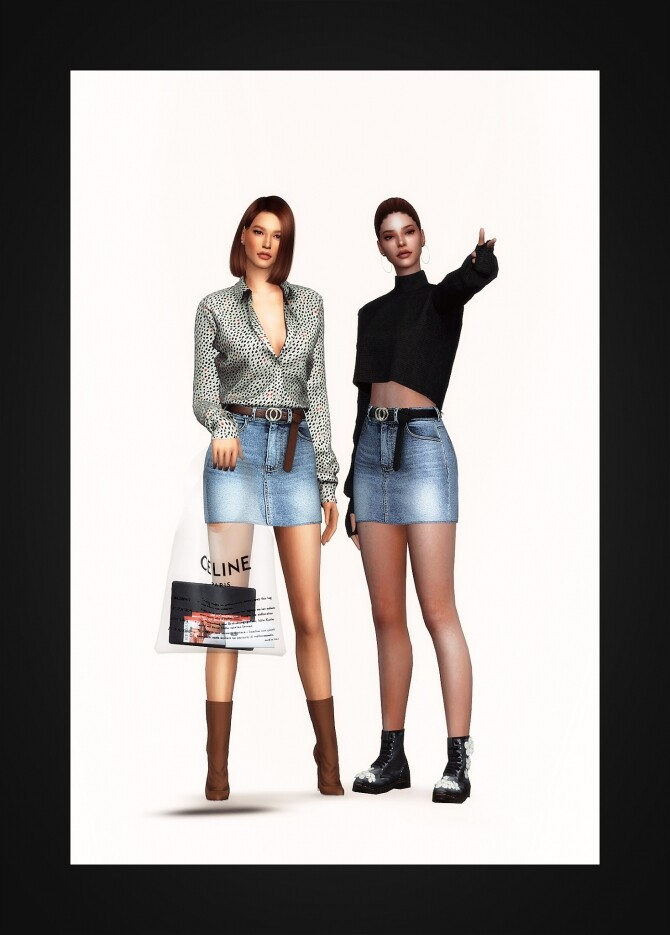 Belted Denim Mini Skirt at Gorilla image 2771 670x935 Sims 4 Updates