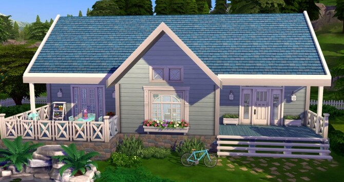 Sims 4 Life in blue home at ihelensims