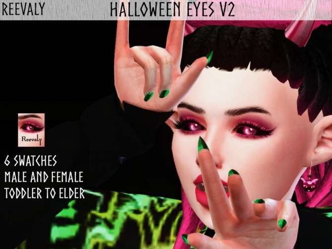 Sims 4 Halloween Eyes V2 by Reevaly at TSR