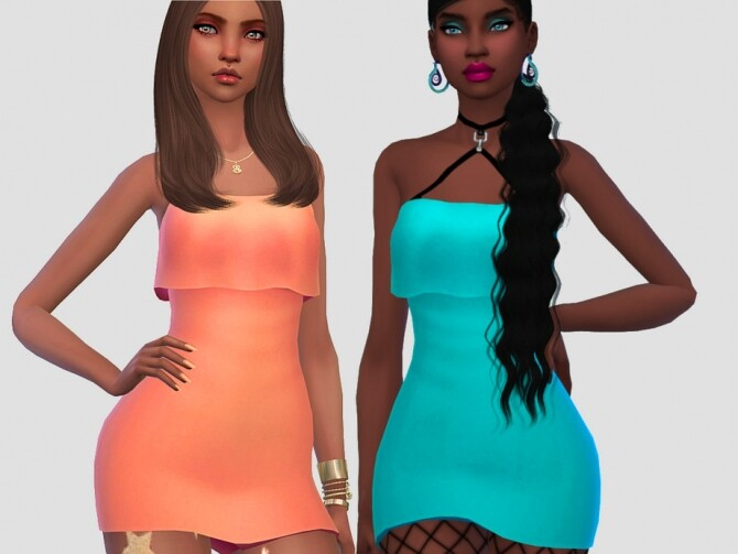Sims 4 Party Dress Solids by Saruin at TSR