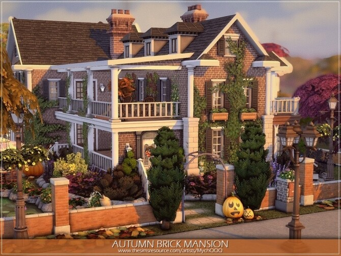 Autumn Brick Mansion by MychQQQ at TSR image 3116 670x503 Sims 4 Updates
