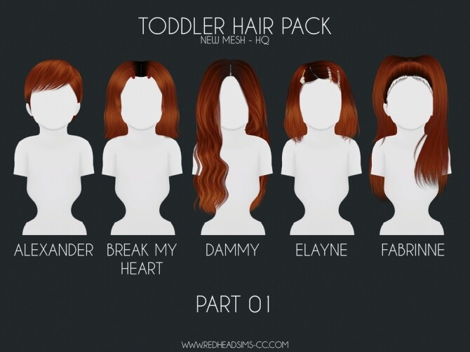 HAIR PACK: KIDS + TODDLER at REDHEADSIMS image 315 670x503 Sims 4 Updates