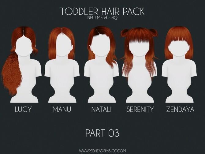 HAIR PACK: KIDS + TODDLER at REDHEADSIMS image 317 670x503 Sims 4 Updates