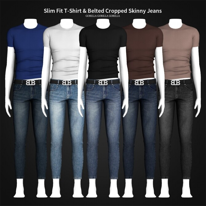 Slim Fit T Shirt & Belted Cropped Skinny Jeans at Gorilla image 318 670x670 Sims 4 Updates