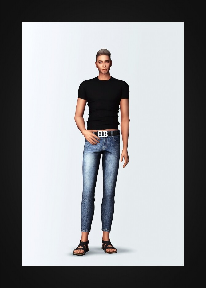 Sims 4 Slim Fit T Shirt & Belted Cropped Skinny Jeans at Gorilla