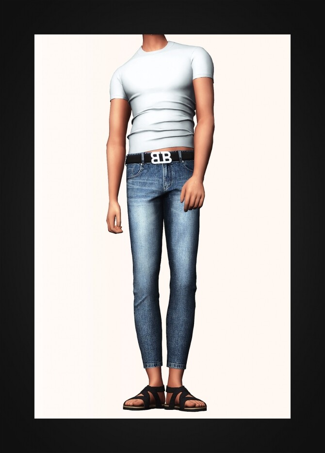 Slim Fit T Shirt & Belted Cropped Skinny Jeans at Gorilla image 320 670x934 Sims 4 Updates
