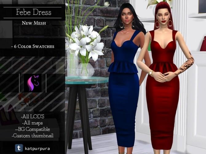 Sims 4 Febe Dress by KaTPurpura at TSR