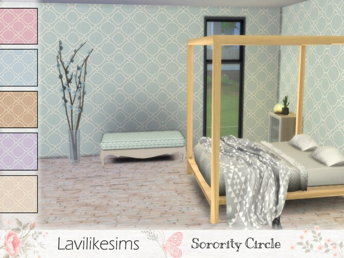 Sorority Circle Wallpaper by lavilikesims at TSR image 328 670x503 Sims 4 Updates