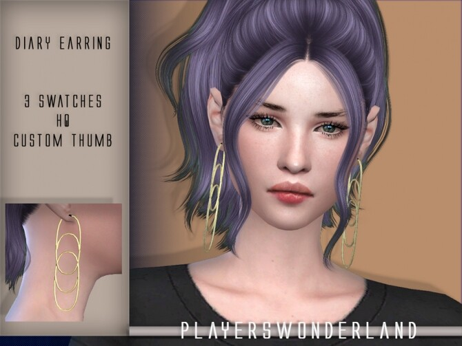 Sims 4 Diary Earrings by PlayersWonderland at TSR