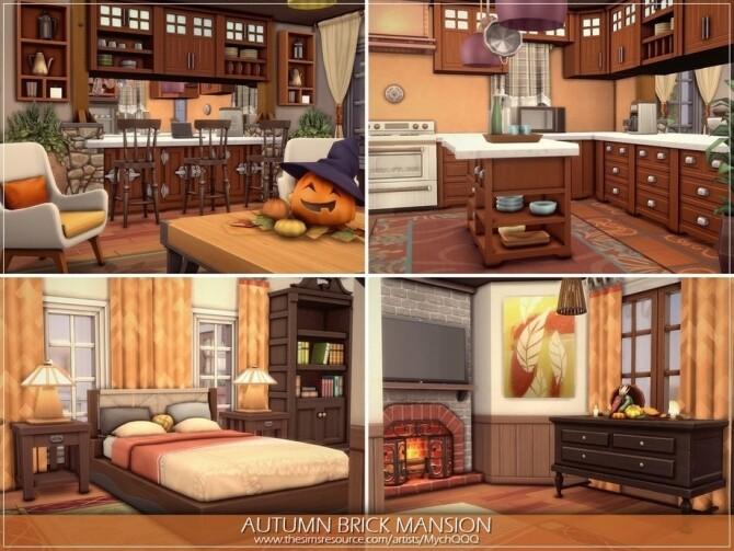 Sims 4 Autumn Brick Mansion by MychQQQ at TSR
