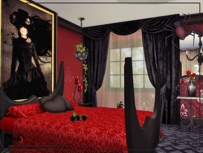 Sims 4 Halloween bedroom by Danuta720 at TSR