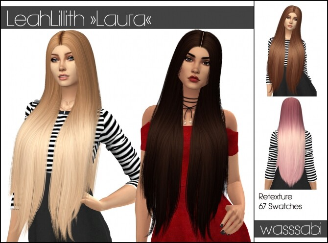 Sims 4 LeahLillith Laura hair retextured at Wasssabi Sims
