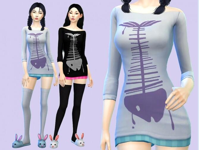 Sims 4 Skelli Fish nightdress by Saruin at TSR