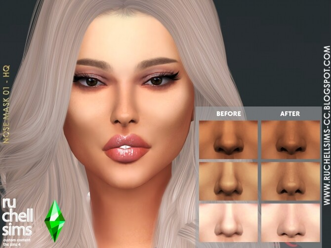 Sims 4 NOSE MASK 01 All tones at Ruchell Sims