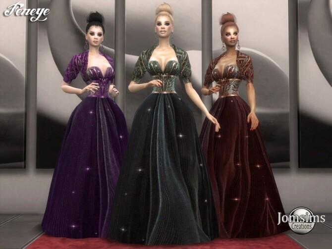 Sims 4 Feneye dress by jomsims at TSR