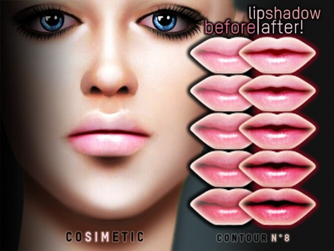 Contour N8 Lip Shadow by cosimetic at TSR image 370 670x503 Sims 4 Updates