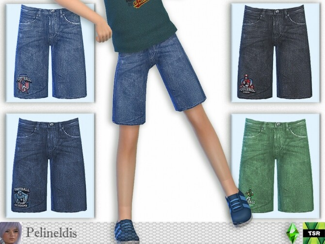 Sims 4 Denim Shorts with Football Patch by Pelineldis at TSR