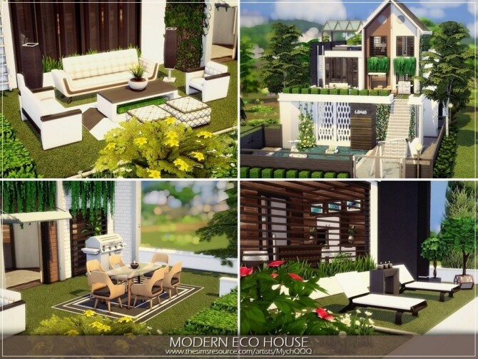 Sims 4 Modern Eco House by MychQQQ at TSR