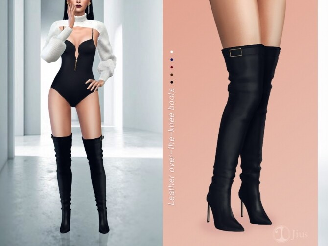 Leather over the knee boots 01 by Jius at TSR image 387 670x503 Sims 4 Updates