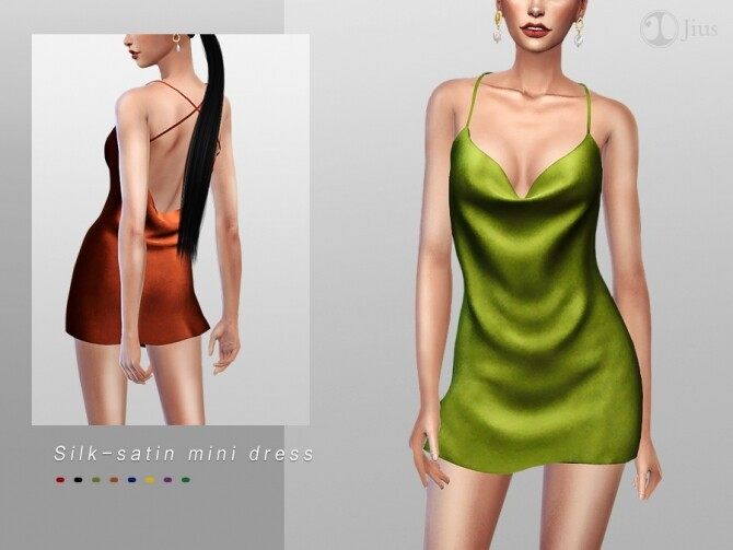 Sims 4 Silk satin mini dress by Jius at TSR