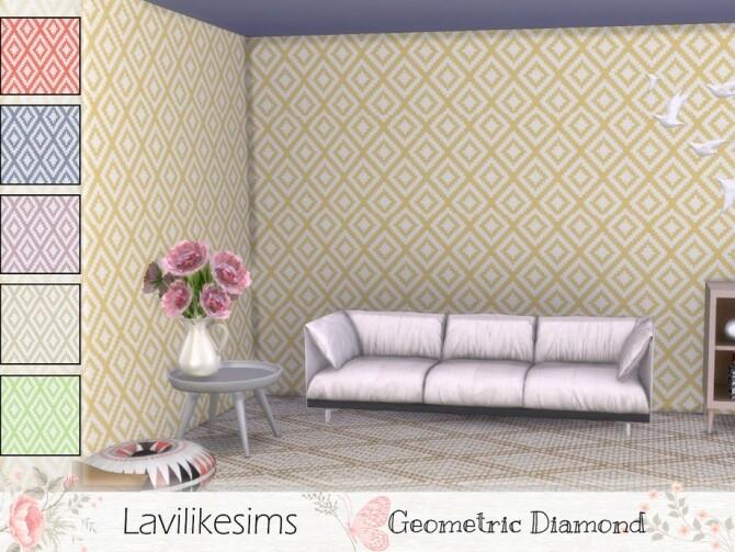 Sims 4 Geometric Diamond wallpaper by lavilikesims at TSR