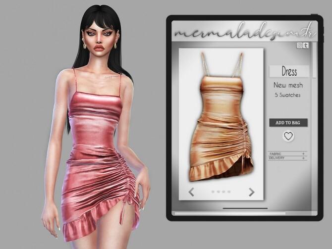 Sims 4 Ruffled Bodycon Dress MC91 by mermaladesimtr at TSR