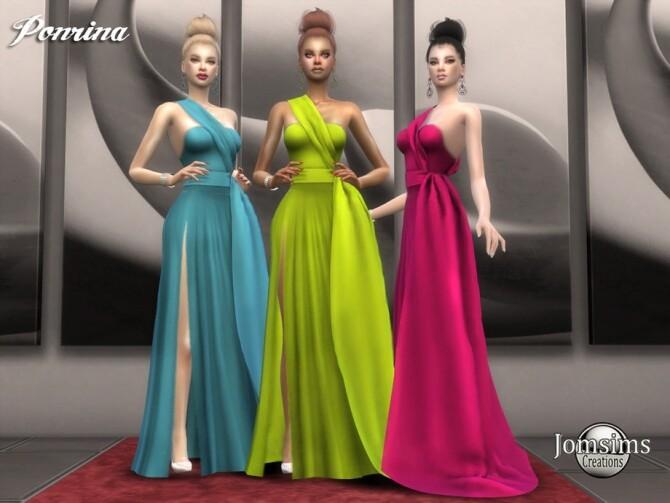 Sims 4 Ponrina dress by jomsims at TSR