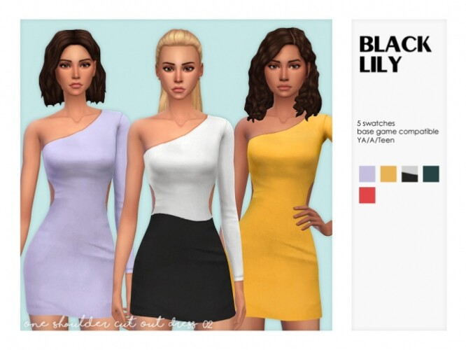 One Shoulder Cut Out Dress 02 by Black Lily