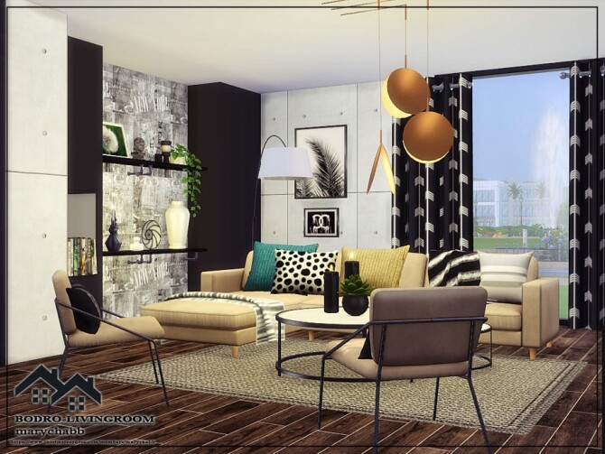 Sims 4 BODRO Livingroom by marychabb at TSR
