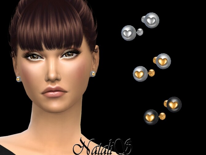 Sims 4 Pearl with heart stud earrings by NataliS at TSR