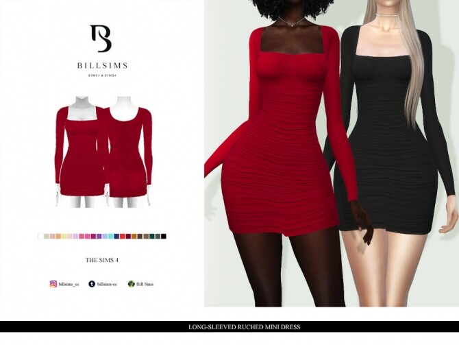 Sims 4 Long Sleeved Ruched Mini Dress by Bill Sims at TSR