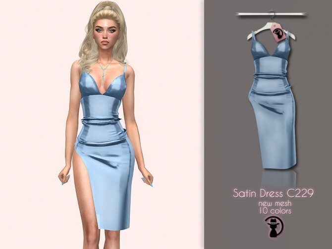 Satin Dress C229 by turksimmer at TSR image 4617 670x503 Sims 4 Updates