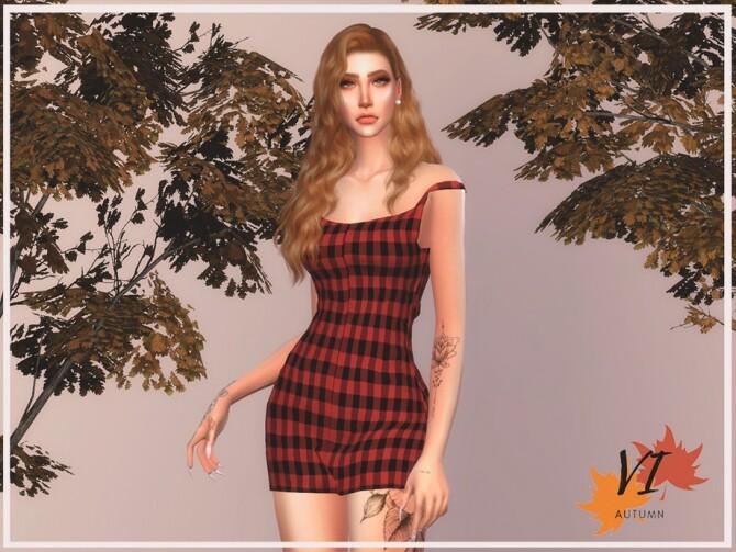 Sims 4 Dress II Autumn VI by Viy Sims at TSR