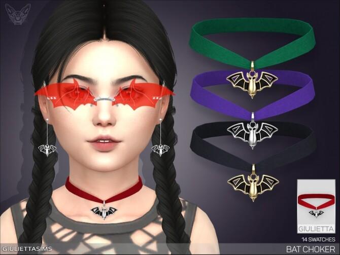 Sims 4 Bat Velvet Choker For Kids by feyona at TSR
