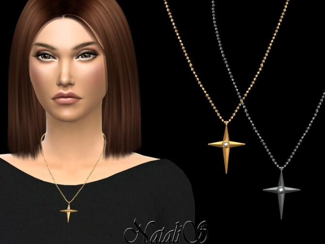Sims 4 Bezel cross necklace by NataliS at TSR