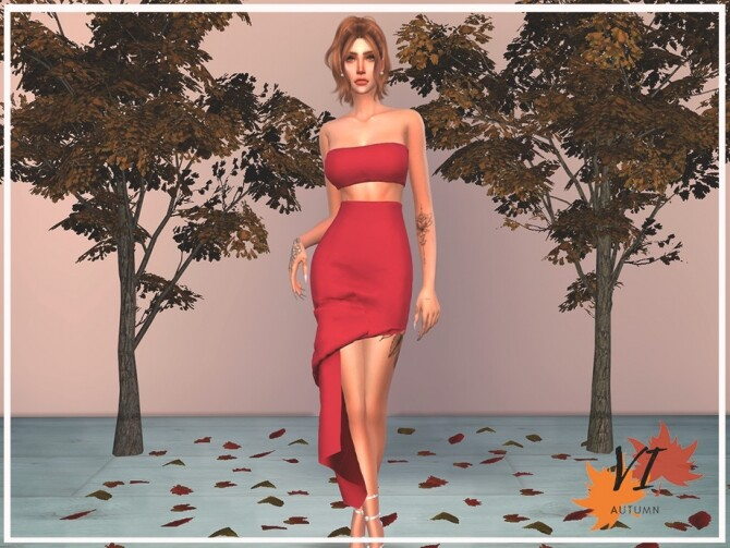 Sims 4 Dress V Autumn VI by Viy Sims at TSR