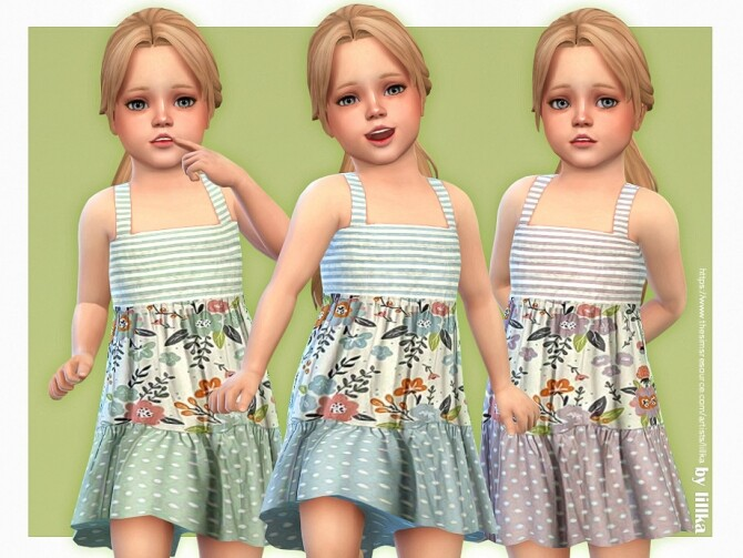 Sims 4 Rosalia Dress by lillka at TSR