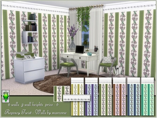 Sims 4 Regency Twist Walls by marcorse at TSR