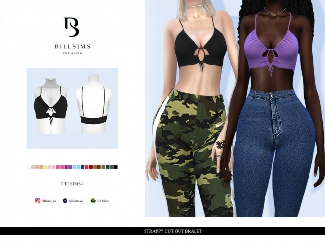 Sims 4 Strappy Cut Out Bralet by Bill Sims at TSR