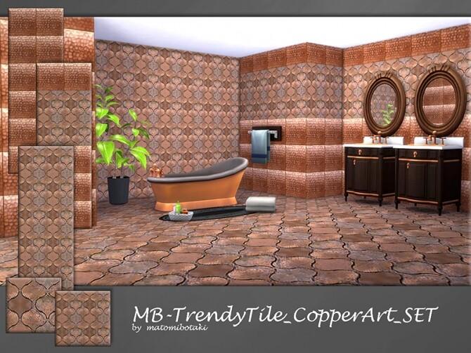 Sims 4 MB Trendy Tile Copper Art SET by matomibotaki at TSR