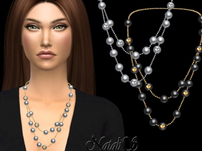 Double pearl with heart necklace by NataliS
