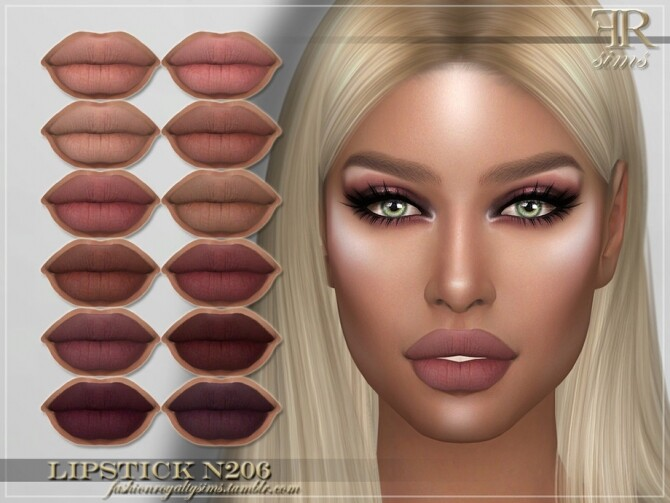 Sims 4 FRS Lipstick N206 by FashionRoyaltySims at TSR