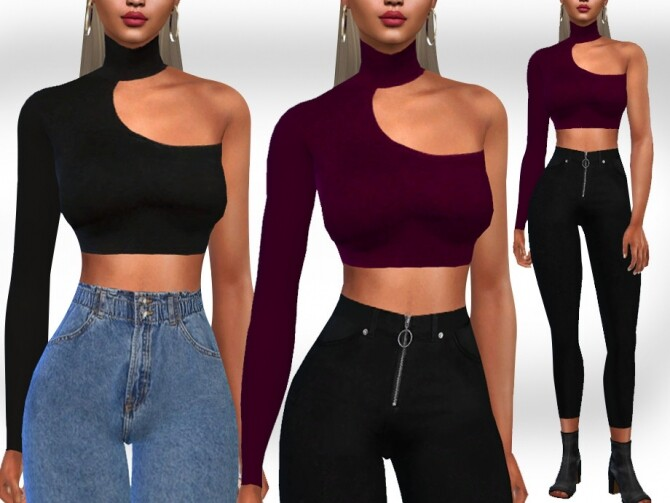 High Collar One Shoulder Tops by Saliwa at TSR image 5917 670x503 Sims 4 Updates