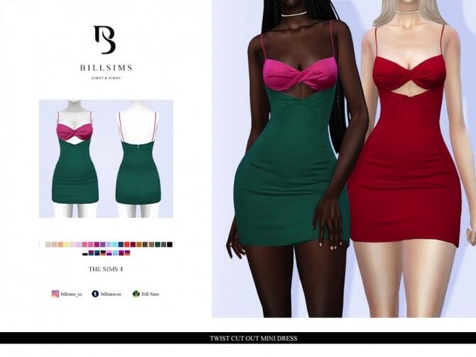 Sims 4 Twist Cut Out Mini Dress by Bill Sims at TSR