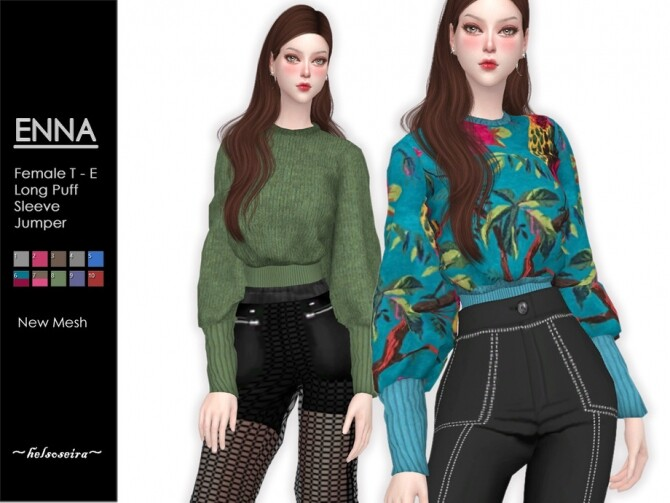 ENNA Puff Sleeve Jumper by Helsoseira at TSR image 598 670x503 Sims 4 Updates