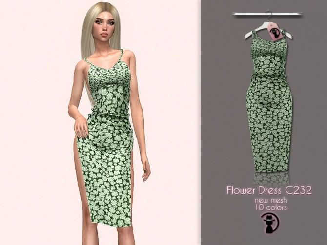 Sims 4 Flower Dress C232 by turksimmer at TSR