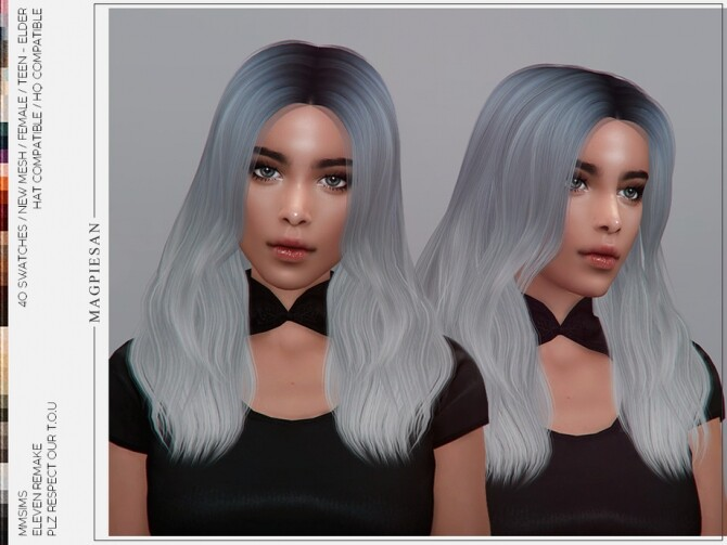 Sims 4 Eleven Remake Hair by magpiesan at TSR
